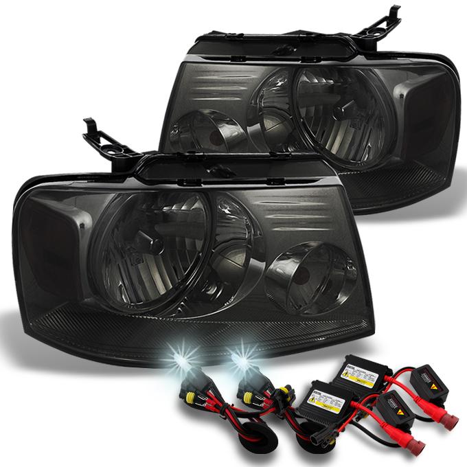 Fits 04-08 F150 06 Lincoln Mark LT Smoked Headlights Lamps + Slim Ballast 6K HID