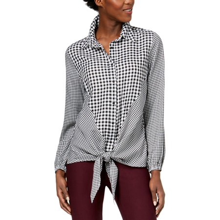 NY Collection Womens Check Print Collar Button-Down Top B/W L