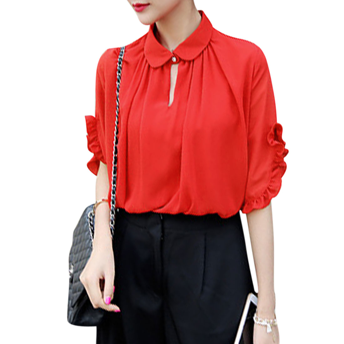 Women's Point Collar Elbow Sleeves Flouncing Cuffs Chiffon Shirts Red XS