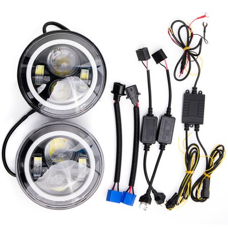 "Krator Pair of 7"" Round LED Headlight w/ Halo Ring Angel for 2011-2013 Jeep Grand Cherokee (Excluding SRT-8) - image 6 de 8"