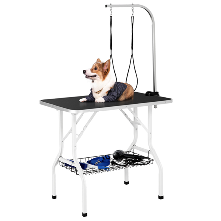 """Topeakmart 36"""" Adjustable Pet Grooming Table with Arm Foldable Dog Grooming Table"""