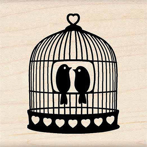 Inkadinkado Mounted Rubber Stamp-Heart Bird Cage 1.75`X1.75` Multi-Colored