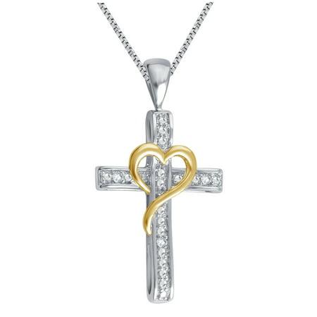 Rhodium Over Brass & 14kt Gold plated Diamond Accent Cross Pendant