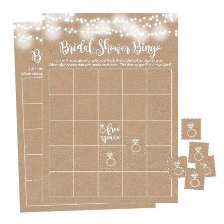 25 Rustic Kraft Bingo Game Cards For Bridal Wedding Shower and Bachelorette Party, Bulk Blank Squares To Fill In Gift Ideas, Funny Supplies For Bride and Couple PLUS 25 Wedding Ring Bingo Chip Markers - Bridal Party Gift Ideas