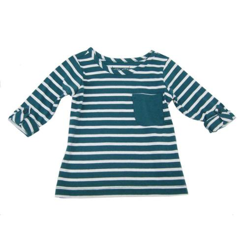 Sprockets Little Girls Green White Stripe Rolled Up Sleeves Shirt 4 - 6X