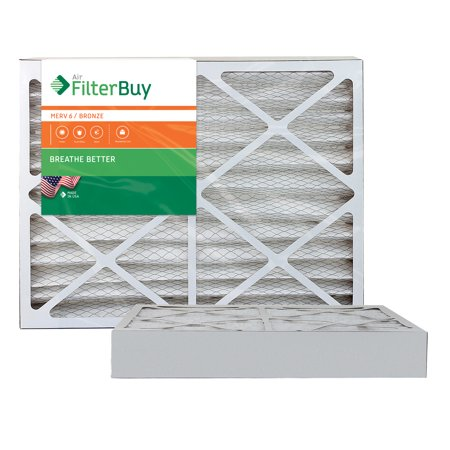 AFB Bronze MERV 6 20x25x4 Pleated AC Furnace Air Filter. Pack of 2 Filters. 100% produced in the USA.