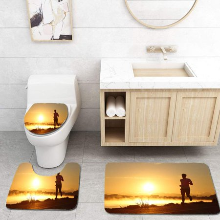 XDDJA Silhouette a Man Running at Sunrise 3 Piece Bathroom Rugs Set Bath Rug Contour Mat and Toilet Lid Cover - image 1 de 2