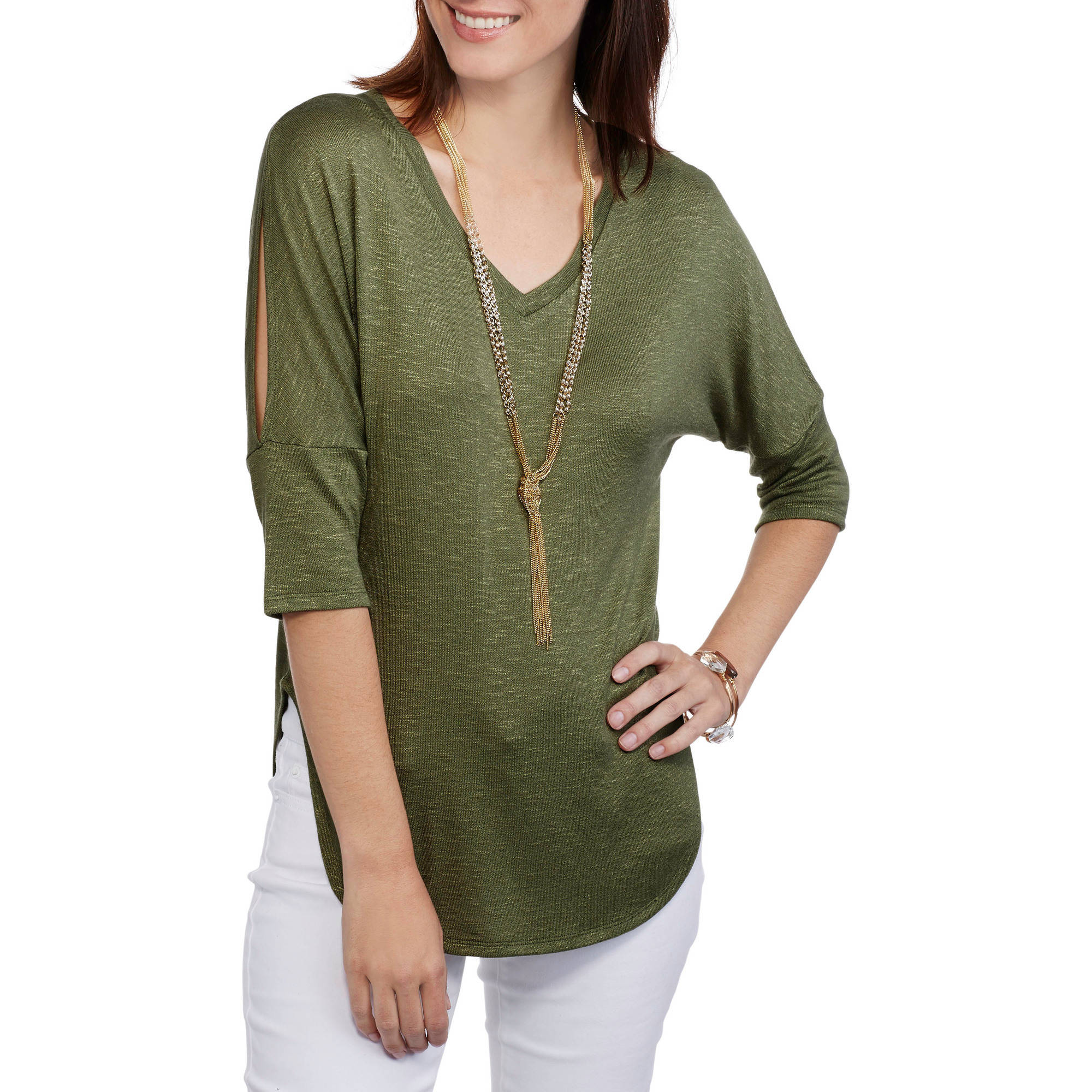 Faded Glory Women's Soft Knit Cold-Shoulder Tunic