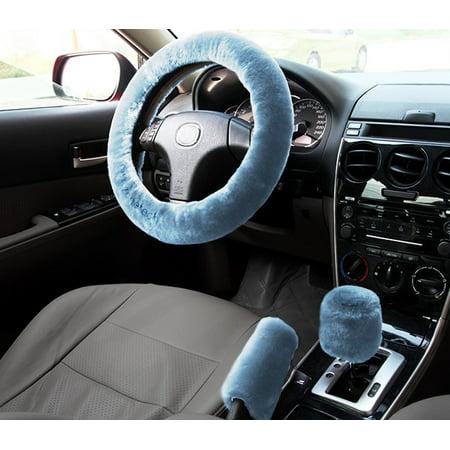 Zone Tech Non-slip Car Decoration Steering Wheel Handbrake Gear Shift Plush  Cover (Blue)