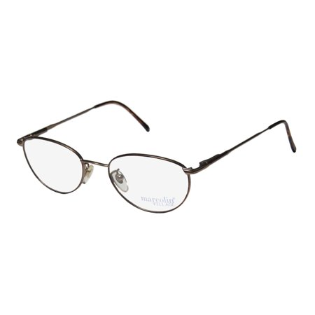 New Marcolin Village 35 Mens/Womens Designer Full-Rim Havana / Light Brown Classy Hip Made In Italy Frame Demo Lenses 50-19-135 Flexible Hinges (Best Spectacle Frames For Round Face)