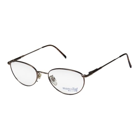 New Marcolin Village 35 Mens/Womens Designer Full-Rim Havana / Light Brown Classy Hip Made In Italy Frame Demo Lenses 50-19-135 Flexible Hinges (Havana Lens Brown Gradient Frame)