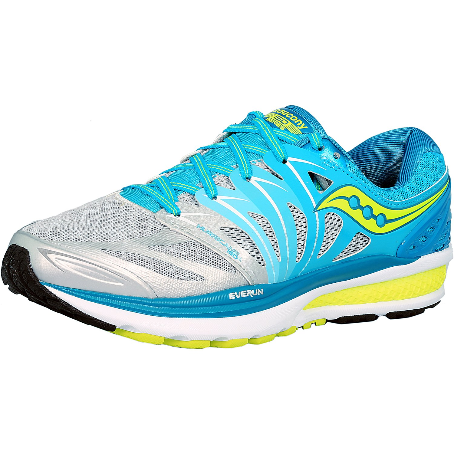 Saucony Women's Hurricane Iso 2 Blue Silver Citron Ankle-High Running Shoe 7W by Saucony