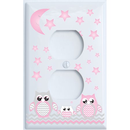 Grey and Pink Owl Outlet Cover / Owl Light Switch Wall Plate Nursery Decor (Outlet Cover) - Lightswitch Cover