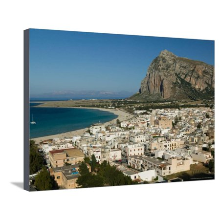 Nizza Lo Canvas (Resort Town View and Monte Monaco, San Vito Lo Capo, Sicily, Italy Stretched Canvas Print Wall Art By Walter Bibikow )
