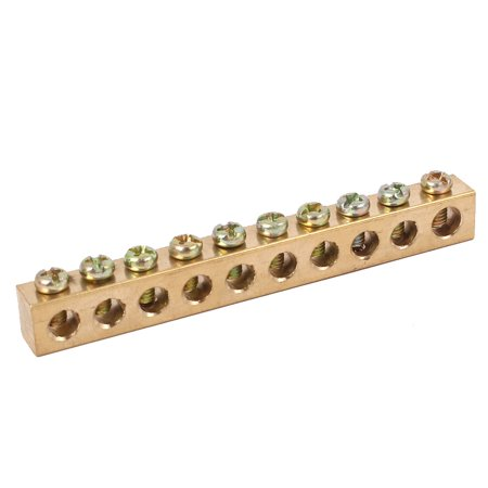 10 Holes Distribution Cabinet Wire Screw Terminal Ground Copper Neutral Bar