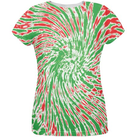 - Christmas Tie Dye Red Green All Over Womens T-Shirt