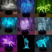 3D Illusion USB Table Desk Lamp Touch LED Night Light Kids Bedroom Decor Gift 7 Color