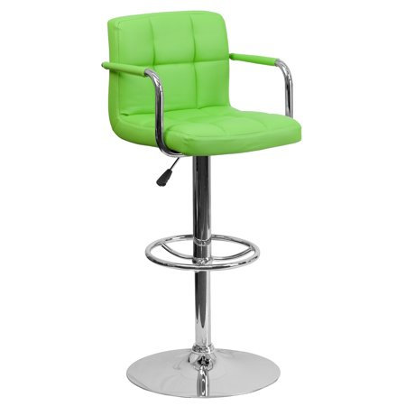 Flash Furniture Contemporary Quilted Vinyl Adjustable Height Barstool with Arms and Chrome Base, Multiple Colors ()
