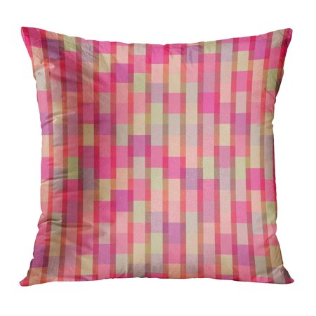 BOSDECO Pattern Mesh of Color Rectangles Retro Geometric Ornamental Red in Disco Simple Abstract Covering Pillow Case Pillow Cover 18x18 inch - image 1 de 1