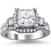 Noori Collection Noori 18k White Gold 1 3/5ct TDW Princess Cut, Baguette and Round-cut Certified Diamond Engagement Ring (G