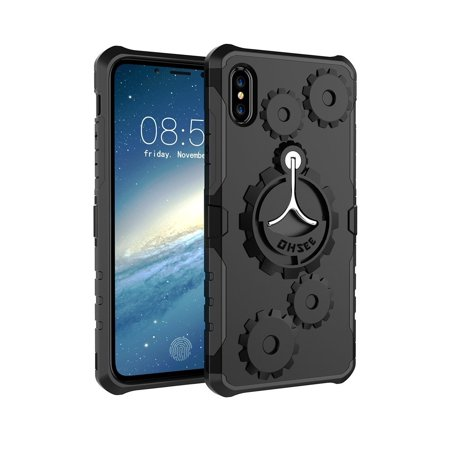 iPhone X Case, Sport Armband Case with Rotating Kickstand Heavy Duty Protection Shock Absorption TPU + PC [Dual Layer] Armband & Armour Case, Soft Elastic Strap with Earphone&Key Holder(Black)