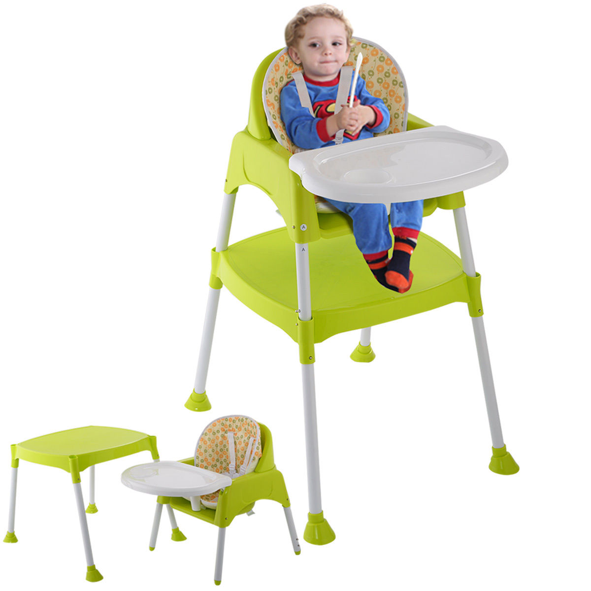 Costway Green 3 in 1 Baby High Chair Convertible Table Seat Booster Toddler Feeding Highchair by Costway