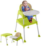 Goplus Green 3 In 1 Baby High Chair Convertible Table Seat Booster Toddler Feeding Highchair