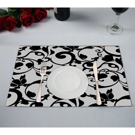 GCKG Damask Pattern Classic Vintage French Floral Swirls Placemat 12x18 inches Set of 2