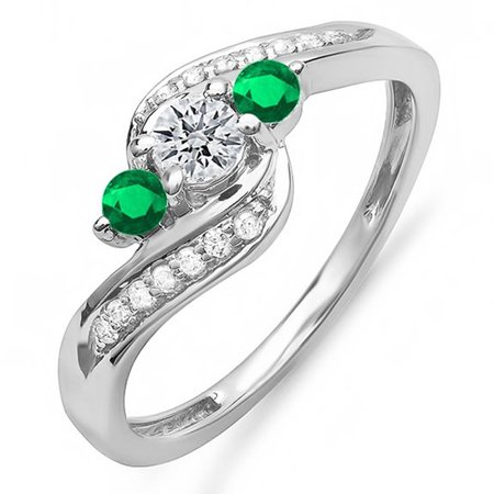 18k 18k Wg Ring - Dazzlingrock Collection 18K Round Emerald And White Diamond Ladies Swirl Engagement 3 Stone Bridal Ring, White Gold, Size 7