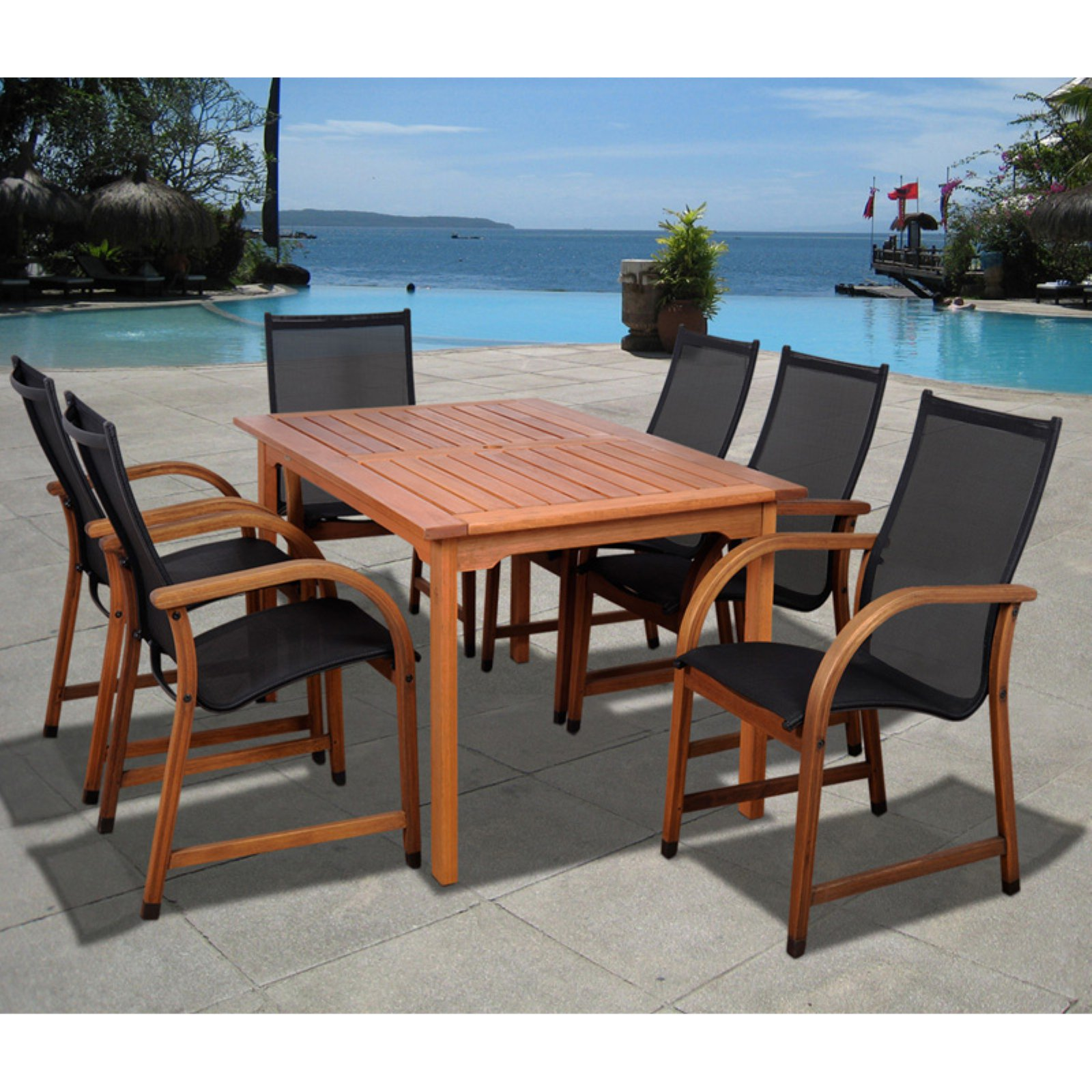 Bahamas 7-Piece Eucalyptus Rectangular Patio Dining Set