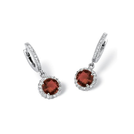 "Round Birthstone Huggie-Hoop Halo Drop Earrings in Silvertone (1 1/16"")"
