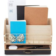 """Wood Desktop Organizer and Storage with Drawers 11"""" x 6.7"""" x 4"""" Office Accessories Supplies"""