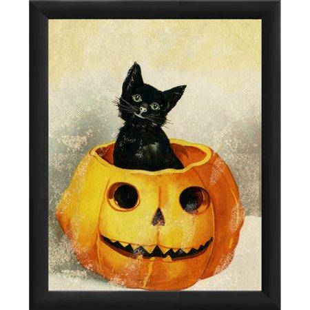 PTM Images Halloween Kitty in Pumpkin Framed Graphic Art - Halloween Frans