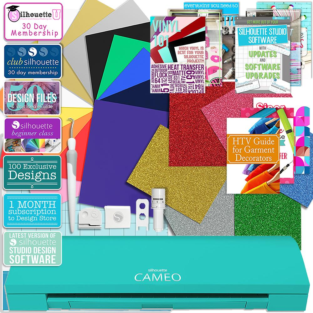 Silhouette Teal Cameo 3 Bluetooth Deluxe Siser Easyweed Heat Transfer Bundle