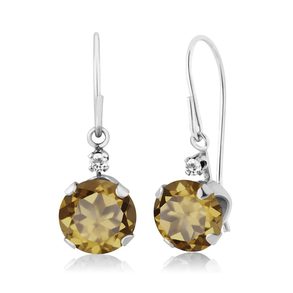 1.62 Ct Round Whiskey Quartz White Sapphire 14K White Gold Earrings