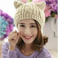 c85fbf5a532 Women Cat Ear Winter Beanie Crochet Braided Knit Ski Wool Hat Cap