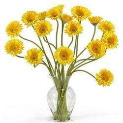 Yellow Gerber Daisy Liquid Illusion Silk Flower Arrangement