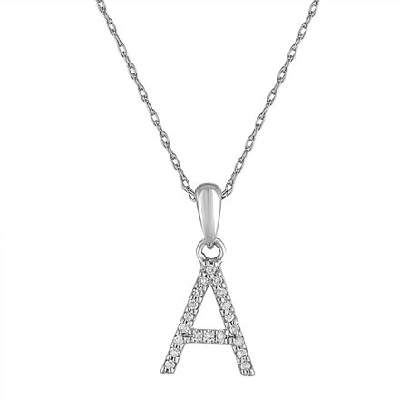 Diamond Initial Letter A Pendant Necklace 14K Gold 1/10 CT TDW 16