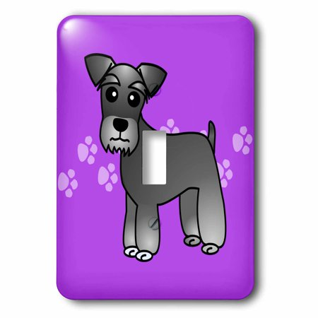 3dRose Cute Miniature Schnauzer Banded Coat (Salt and Pepper) - Cartoon Dog - Purple with Pawprints - Single Toggle Switch (lsp_40881_1)