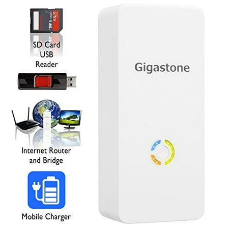gigastone media streamer plus: wireless sd card & usb flash drive reader; wireless mobile storage drive & media streamer; wlan hotspot & nas file server; built-in 5200mah battery pack to recharge