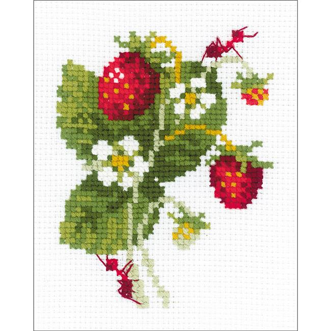 5.25 x 6.5 in. Wild Strawberry Counted Cross Stitch Kit - 10 Count