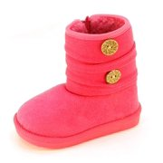 Fur Lined Footwear Fashion Boots with Buttons for Toddler Girls (7M US Toddler, Hot Pink)