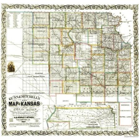 Old Kansas Map.Old Mining Map Gold Mines Kansas Gunn 1862 23 75 X 23