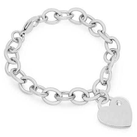 Hmy Jewerly Heart Charm Brac With Swarovski Crystal