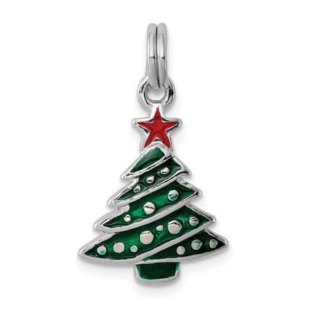 3/8 Inch Silver Logo Charm - Sterling Silver Enameled Christmas Tree Charm (0.8in long x 0.5in wide)