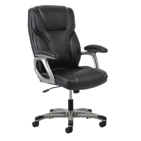High Back Swivel/Tilt Leather Office Chair Black - OFM