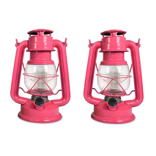 Northpoint 12-LED 150-Lumen Pink Flamingo Vintage Style Home Decor Hanging Lantern for Indoors and Outdoors (PACK OF 2)