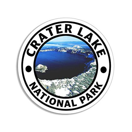 Round CRATER LAKE National Park Sticker (hike travel rv oregon or)  - Oregon Ducks Stickers