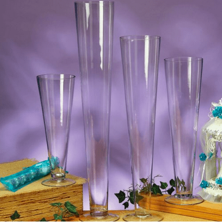 Large Glass Clear 24 Inch Trumpet Vase Centerpiece Wedding Birthday
