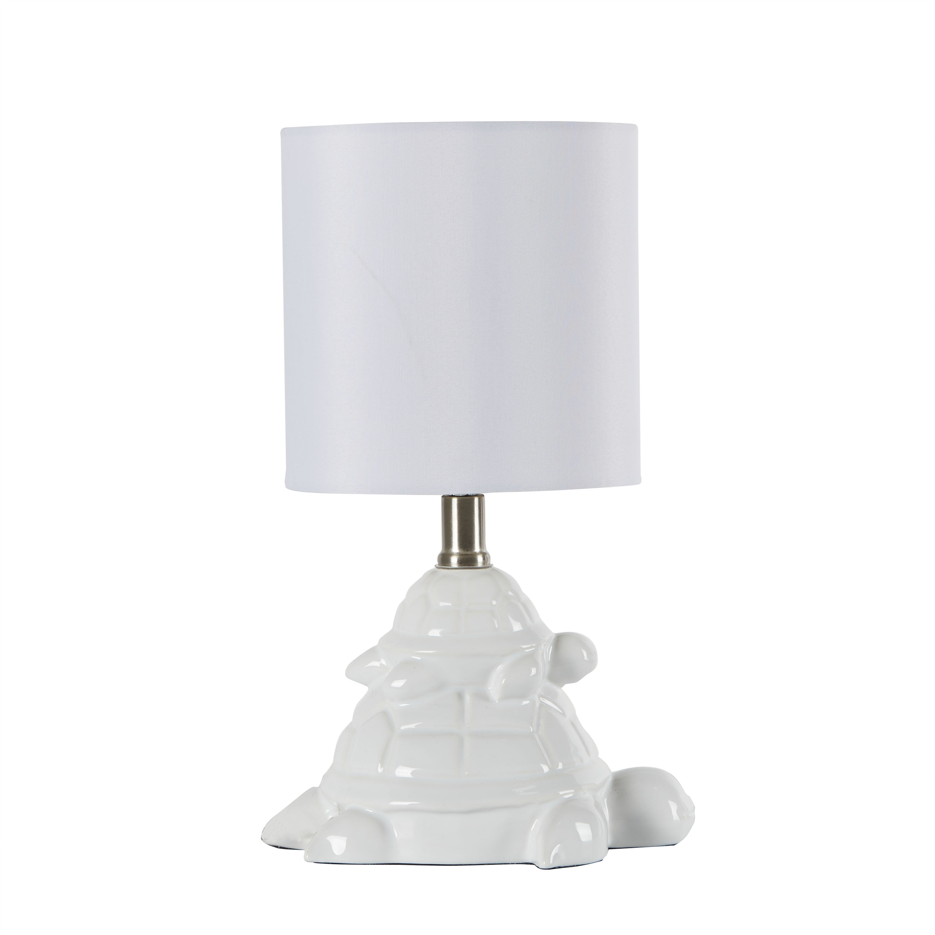 Your Zone White Ceramic Turtle Table Lamp with White Drum Shade - Walmart.com
